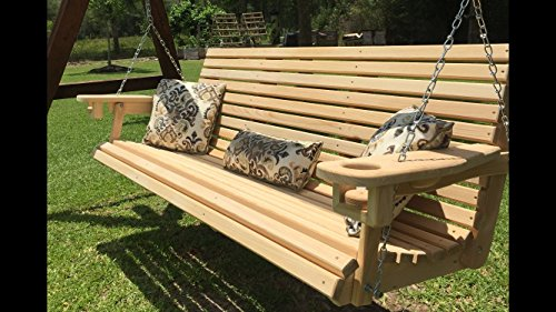 6 Ft Handmade Cypress Porch Swing with Cup Holders (Louisiana Cypress Swings)