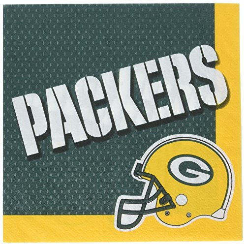 Amscan Licensed MLB Green Bay Packers Party Paper Luncheon Napkins Tableware Childrens, 96 Pieces ()