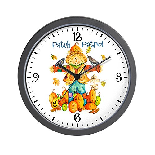 Wall Clock Halloween Scarecrow Pumpkins Crows ()