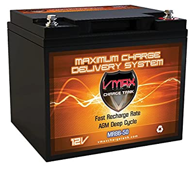 "VMAX MR86-50 12V 50AH AGM Deep Cycle Battery (7.8""Lx6.6""Wx6.7""H) for Minn Kota Endura C2 40 12V 40lb Trolling Motor"