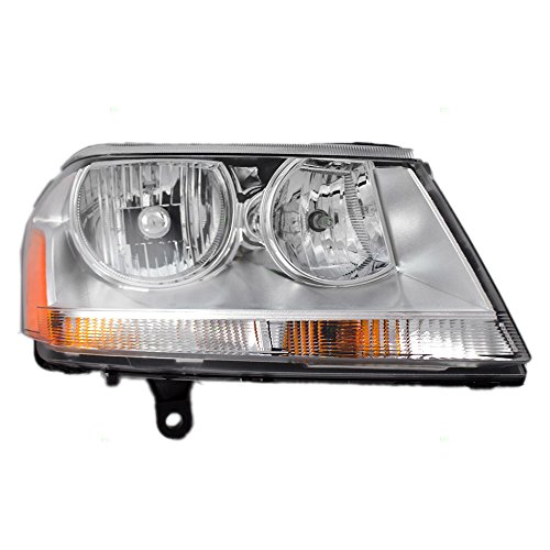 (Passengers Headlight Headlamp Lens with Chrome Bezel Replacement for Dodge 5116342AB)