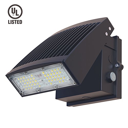 Dephen 55W Led Wall Pack Light, Photocell Dusk to Dawn, 7150Lumens(200W Metal Halide/HPS Replacement), 5000K LED Security Lights, Adjustable Head, LED Flood Outdoor Lighting, (Metal Halide Wallpack Light Fixture)