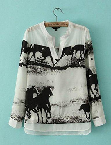 Women Shirt ,IEason 2017 Hot Sale! Women Long Sleeve Casual Black Horse White Shirt Chiffon Tops Blouse (M, White)