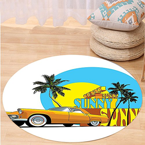 VROSELV Custom carpet1950s Decor Vintage Classic Car in Magic City Miami with Exotic Coconut Trees Sunny Day Beach Bedroom Living Room Dorm Decor Yellow Blue Orange Round 72 inches (Repair Rattan Furniture Miami)