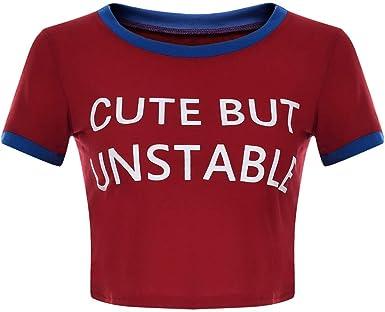 Huazi2 Womens Summer Casual Short Sleeve Letter Print Tops T Shirt Blouse