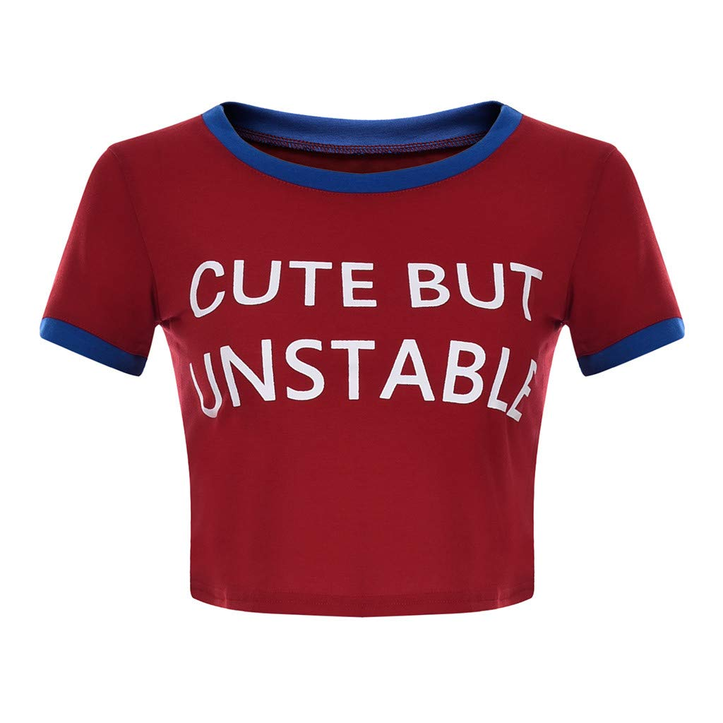 Coco-Z Women's Fashion Summer Cute BUT Unstable Letter Print Short Sleeve T-Shirt Round Collar Tee Shirts Vests Red