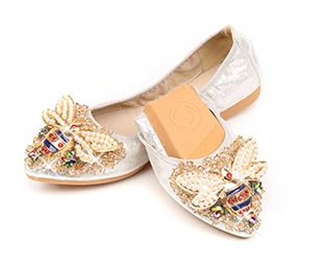 IINFINE Womens Pointed Toe Ballet Flats Comfort Slip on Ballerina Flat Shoes