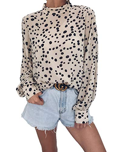HZSONNE Women's Casual Crew Neck Full Puff Sleeve Key Hole Leopard Dot Print Lightweight Shirts Tunic Tops Tees Knitwear