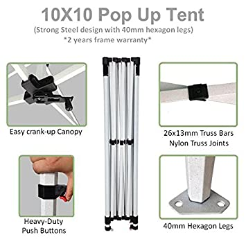 ABCCANOPY Pro-40 10 x 10 Trade Show Canopy Tent Custom Pop up Marquee with Bag Bonus 4PCS Fillable Weights with Custom Sleeve