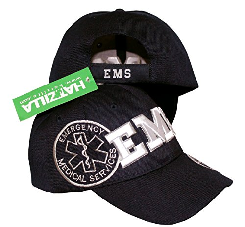 Ball Officer Cap - EMS, Emergency Medical Services - Baseball Cap Hat 3D Embroidery (Black)