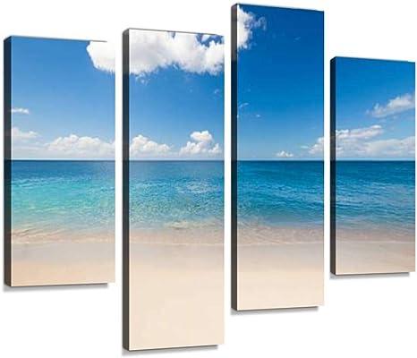 art print original painting sea moon SKY+SEA+SAND wall decor abstract boho wall art beach sky