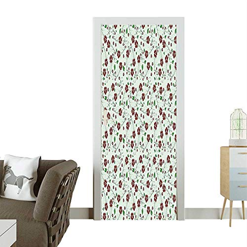 Door Sticker Wall Decals Pattern Green Leve Retro Style Work Burgundy and Light Green Easy to Peel and StickW17.1 x H78.7 INCH