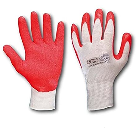 2 PAIRS NEW LATEX COATED NYLON WORK TOOLS GLOVES SAFETY GARDEN GRIP BUILDERS DIY