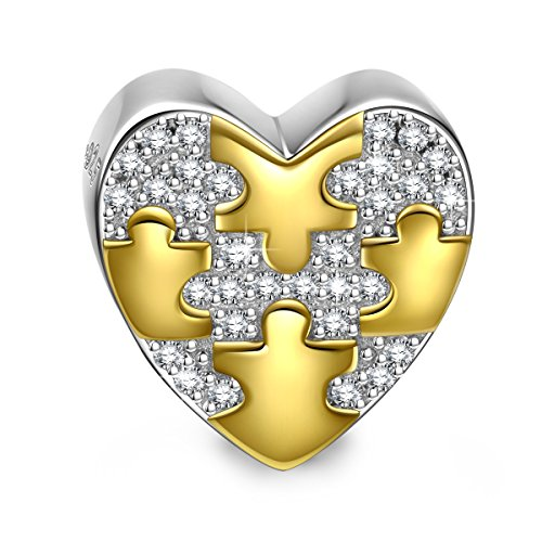 NINAQUEEN Soulmate 925 Sterling Silver Puzzle Pattern Heart Bead Charms for Bracelet Necklace Jewelry for Women Birthday Anniversary for Her Teen Girls Wife Mom Daughter (Mom Charm Bead)