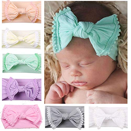 CaJaCa Baby Girl Hair Hoops Headbands and Bows, Newborn Infant Toddler Cute Turban Soft Headbands Hair Accessories -