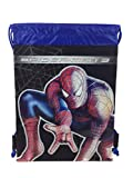 Marvels Spiderman 10″ X 14″ Drawstring Backpack Heavy Duty Nylon Tote Bag Color (Blue, Red, or Black) (BLACK) For Sale