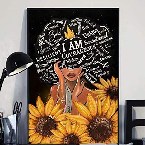 Sunflower Black Girl I Am Afro Woman Art Print Wall Decor Poster No Frame