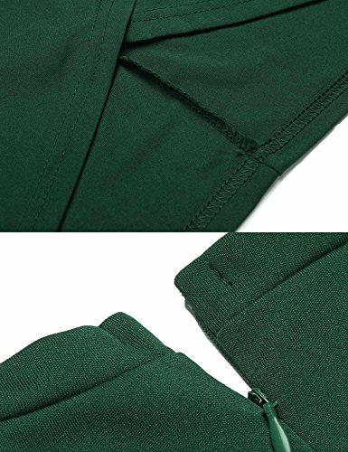 Donne Tubino Verde Manicotto Protezione Scuro Burlady Ufficio Di Mock Delle Lavorare Del Usura Increspato A Della collo zOn1O0