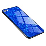 iPhone 6 Plus 6s Plus Case, Anti-Scratch Tempered Glass Back Cover + TPU Frame Hybrid Shell Slim Case Silicone Shockproof Cover for iPhone 6/6s Plus (iPhone 6 Plus 6s Plus, Blue)