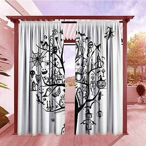 Outdoor Patio Curtains Halloween Decorations Sketch Style Halloween Tree with Spooky Decor Objects and Wicked Witch On Broom Simple Stylish W96x72L Black -