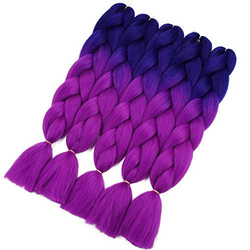 Crochet Braids Ombre Jumbo Braiding Hair Extensions Synthetic Yaki Straight 5 Pieces 2 Tone (Dark Blue (Yaki Braid)