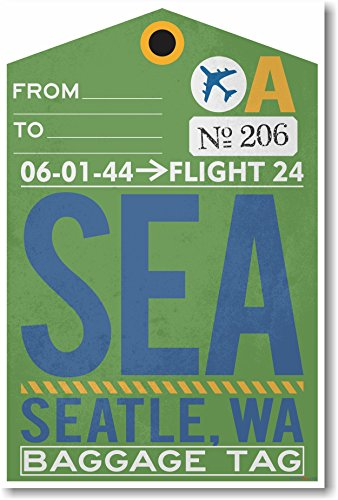 SEA - Seattle Airport Tag - NEW Travel Poster