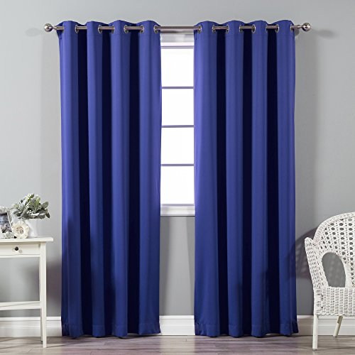 Best Home Fashion Premium Thermal Insulated Blackout Curtains - Stainless Steel Nickel Grommet Top - Royal Blue - 52