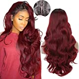 Armmu 28'' Red Ombre Long Body Wave Hair Full Wigs No Lace Wigs for Women 100% Synthetic Hair Burgundy Black Roots Wig (OTBUG)