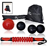 Massage Ball Set and Muscle Roller Stick Kit - Lacrosse Ball/Double Peanut Ball/Spiky Ball/Roller Stick - Myofascial Trigger Point Release with Deep Tissue Therapy for Muscle Knots and Mobility