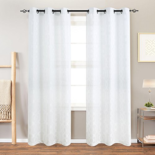 Curtains for Living Room Trellis Geometric Pattern White Semi Sheer Window Curtains for Bedroom Jacquard Curtains Privacy Opaque Window Treatment Set, Grommet Top, 2 Panels, 84
