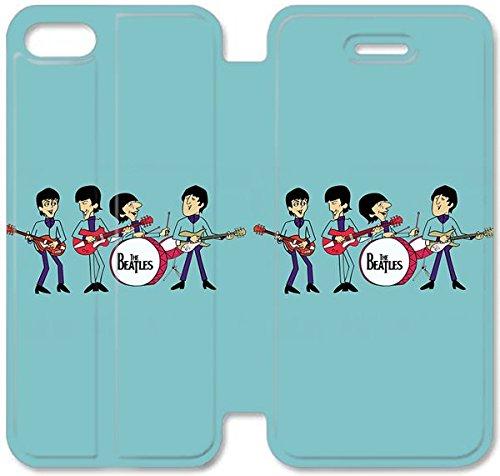 Flip étui en cuir PU Stand pour Coque iPhone 5 5S, bricolage cas de téléphone cellulaire 5 5S Les étuis en cuir Beatles Comics H2V3DA Conception Coque iPhone