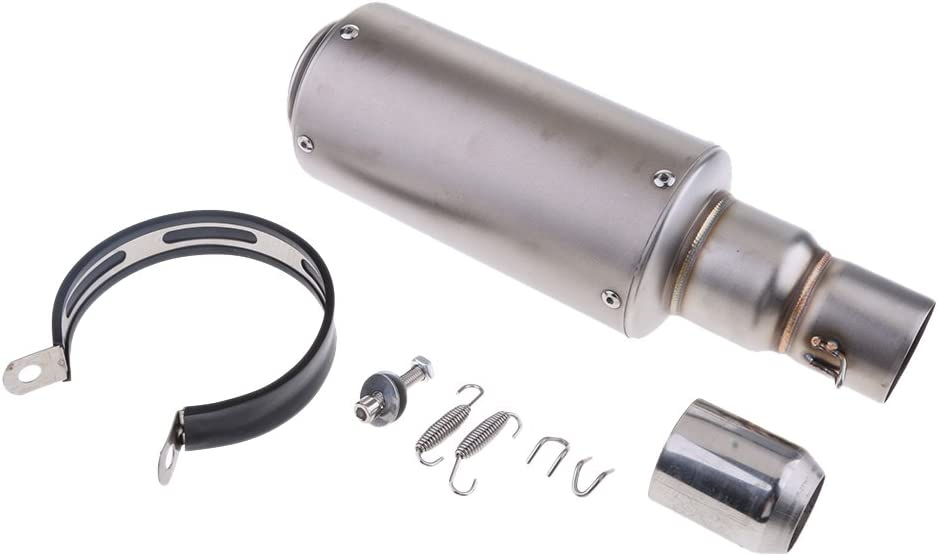 Homyl 36-51mm Stainless Steel Motorcycle Modified Exhaust Muffler Pipe Slip-On for Honda Silver
