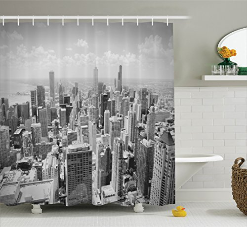 Ambesonne Apartment Decor Collection, Chicago Skyline Aerial View Contemporary Famous Touristic Places Picture Pattern, Polyester Fabric Bathroom Shower Curtain Set with Hooks, - Chicago Tower Water Place