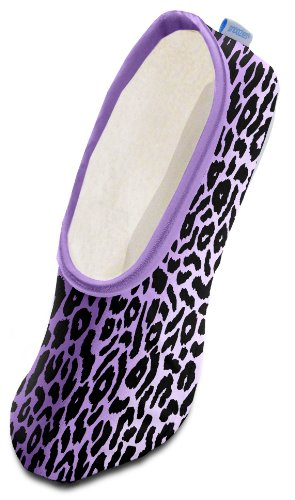snoozies! Womens Skinnies Slippers Lightweight Cozy Footcoverings, Leopard Stripe, Medium