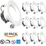 "Sunco Lighting 10 PACK - 11Watt 4""- Inch ENERGY STAR UL-Listed Dimmable LED Downlight Retrofit Baffle Recessed Lighting Kit Fixture, 5000K Daylight LED Ceiling Light Location -- 645LM, CRI 90"