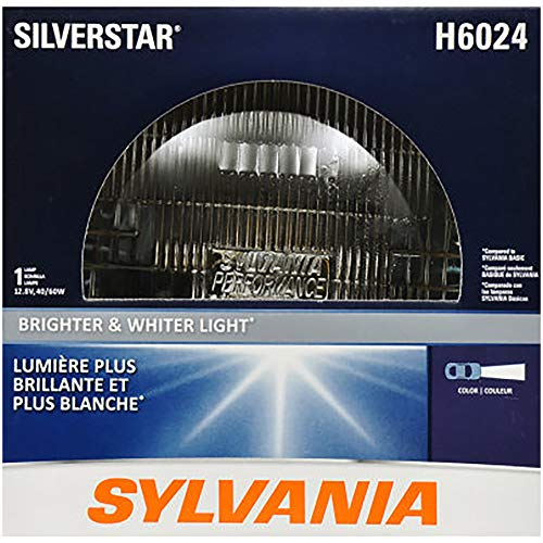 "SYLVANIA - H6024 SilverStar Sealed Beam Headlight - High Performance Halogen Headlight Replacement (7"" Round) PAR56, Brighter & Whiter Light for Added Clarity Downroad and Sideroad, (Contains 1 Bulb)"