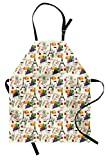 Ambesonne European Apron, French Themed Paris Must Have Macarons Wines Grapes Bikes Berries Eiffel Art Print, Unisex Kitchen Bib Apron with Adjustable Neck for Cooking Baking Gardening, Multicolor