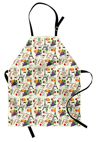 Ambesonne European Apron, French Themed Paris Must Have Macarons Wines Grapes Bikes Berries Eiffel Art Print, Unisex Kitchen Bib with Adjustable Neck for Cooking Gardening, Adult Size, Purple Cream ()