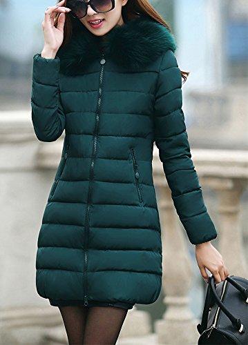Arkind Abrigo Mujer Invierno Abrigo con Zip Parka Invierno con Sudadera con capucha Piel Abrigo Vin Rojo Negro Blanco Verde Aceituna Azul Verde