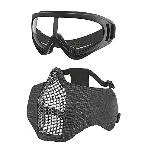 MGFLASHFORCE Airsoft Mask with Ear Protection and Goggles Set, Steel Mesh Half Face Tactical Mask and UV400 Goggles for Halloween Cosplay Xmas Party