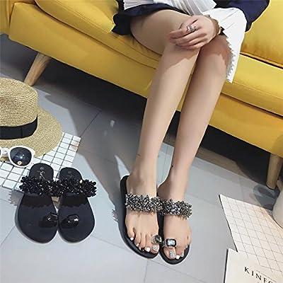 Fheaven Women's Flips Flops Sandals Summer Wedges Shoes Rhinestone Toe Ring Flat Beach Sandals