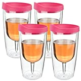 Southern Homewares Wine Tumbler - 10oz Insulated Vino Double Wall Acrylic With Pink Drink Through Lid - Wine 2Go!, Set of 4