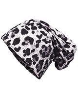 Shenky - Long bonnet en jersey - effet vieilli/déchiré - imprimé léopard