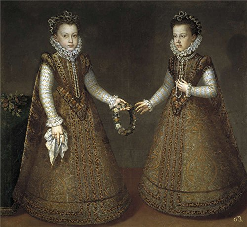 Perfect Effect Canvas ,the High Definition Art Decorative Canvas Prints Of Oil Painting 'Sanchez Coello Alonso The Infantas Isabel Clara Eugenia And Catalina Micaela Ca. 1575 ', 18 X 20 Inch / 46 X 50 Cm Is Best For Home Theater Decor And Home Artwork And Gifts ()