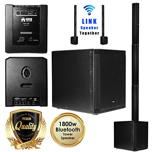 EMB 12BT PK1 1500W Tower Bluetooth All-in-One Linear Array PA Portable Linkable Speaker - Perfect for Home/Karaoke/Birthday/DJ Party/Meeting/Camp/Jobsite/Construction ()