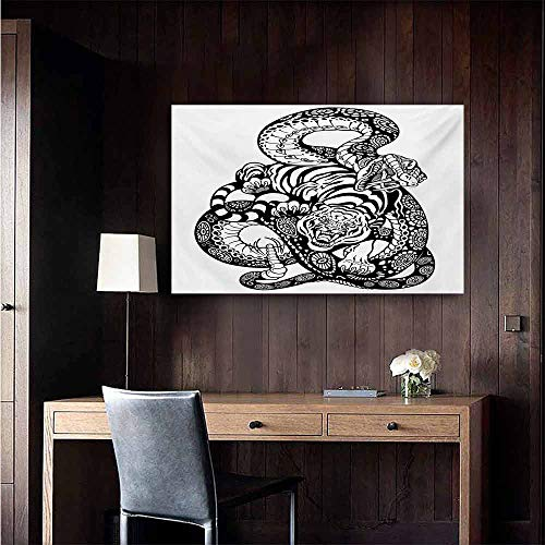 duommhome Tiger Chinese Classical Oil Painting Tattoo Style Scene of Two Animals Struggling Long Snake with Sublime Large Cat for Living Room Bedroom Hallway Office 20