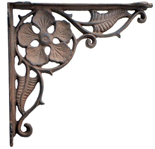 Decorative Shelf Bracket Flower Leaf Distressed Brown Cast Iron Brace 9.375