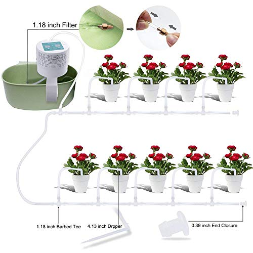 Elitlife Automatic Drip Irrigation Kit, Self Watering System, Vacation Plant Watering, Watering Can, 15-Day Watering Time&Watering Interval Time Setting, for Indoor Garden/Potted Plants-Simultaneousl (Watering Plant Automated)