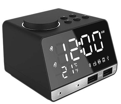 momo Reloj Despertador Inteligente Bocina Bluetooth Despertador USB Carga del Teléfono Sonido de Escritorio LED Electrónico