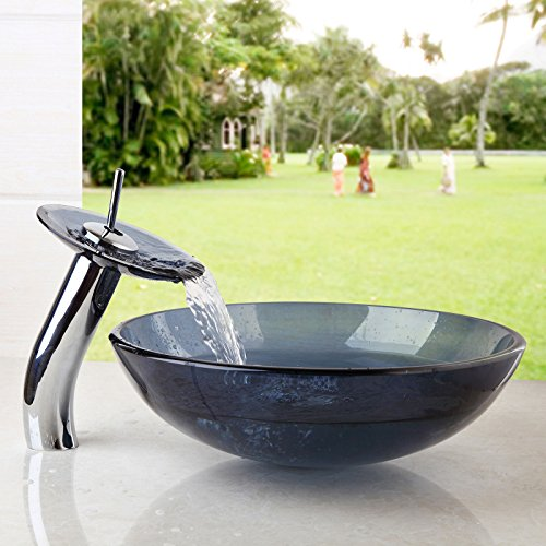 OUBONI US Bathroom Round Grey Blue Clear Glass Vessel Sink Basin with Match Waterfall Faucet &Pop-Up Drain Included JN10004